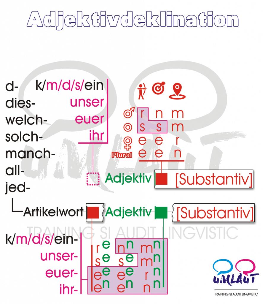 Adjektivdeklination - delcinarea adejectivelor in limba germana